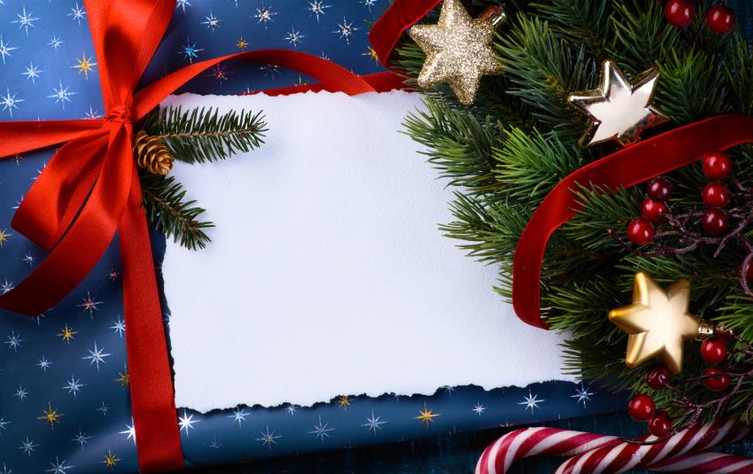 świąteczna kartka ze wstążką