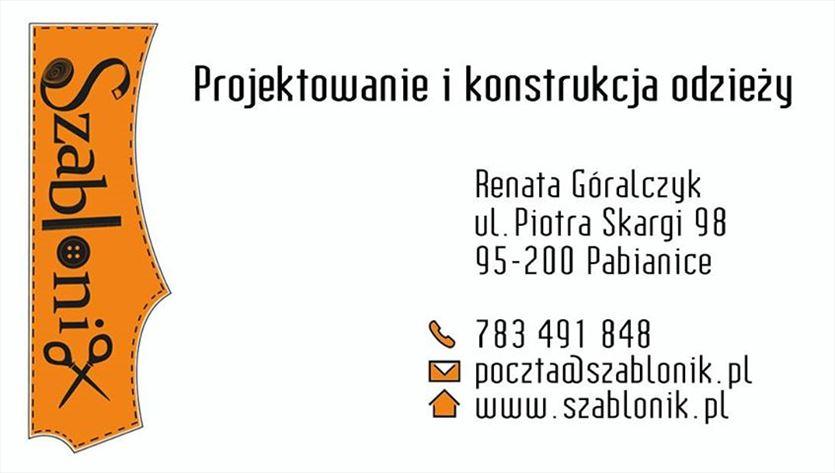 Konstrukcja i stopniowanie szablonów odzieżowych, Szablonik Renata Góralczyk, Pabianice