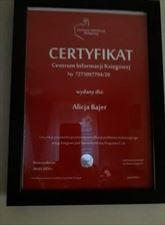 certyfikat, Alicja Bajer, Łódź