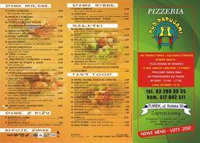 menu pizzerii Pod Papugami, Płucienniczak Piotr Mała Gastronomia Pizzeria Pod Papugami, Turek
