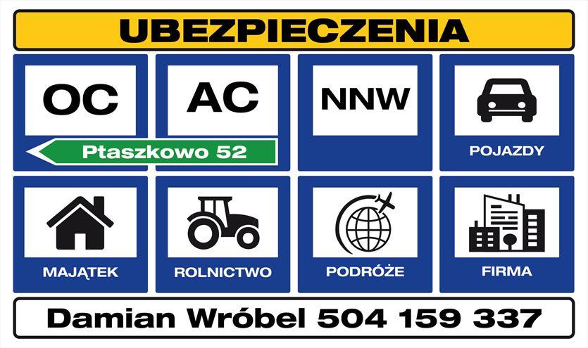 Ubezpieczenia komunikacyjne, majątkowe, na życie , Damian Wróbel. Agent Ubezpieczeniowy, Ptaszkowo