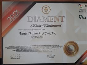 certyfikat, As-Kor Anna Skwarek, Warszawa