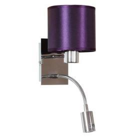SYLWANA LAMPA KINKIET 1X40W E14 + LED Z WYŁĄCZNIKIEM CHROM / FIOLETOWY