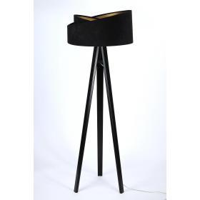 Lampa podłogowa stojąca asymetryczna welurowa Emi czarno - złota