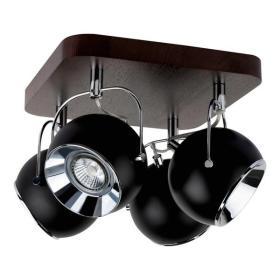 SPOTLIGHT lampa sufitowa BALL WOOD z drewna bukowego w kolorze orzech z 4 punktami świetlnymi klosz czarny 5133476
