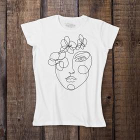 Koszulka damska biała – Flower Face