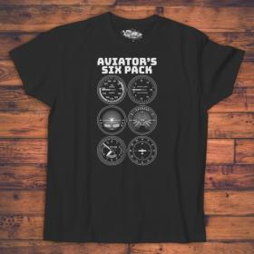 Koszulka męska biała/czarna - Aviators Six Pack