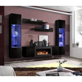 Meblościanka do salonu FLY M3 czarna z LED + biokominek