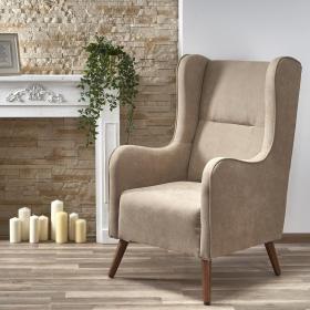 Fotel wypoczynkowy chester beż lira-1203 tkanina/drewno halmar