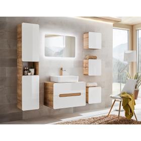 Meble łazienkowe z umywalką Aruba UNI 80 dąb craft złoty/biały połysk + LED
