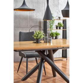 Rozkładany stół Derrick 160(200)x90 dąb okleina mdf/czarna stal Halmar