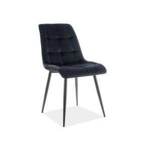 Krzesło Chic czarna tkanina velvet/czarny metal signal