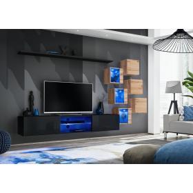 Meblościanka Switch 21 czarny - wotan mat/połysk + LED