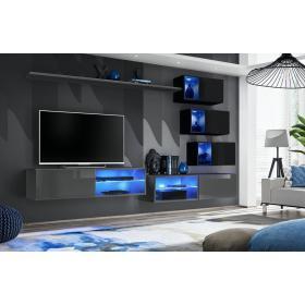 Meblościanka Switch 24 grafit - czarny mat/połysk + LED