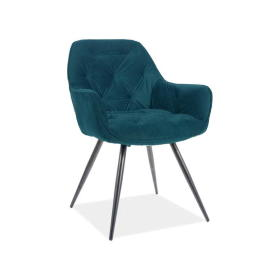 Krzesło Cherry matt turkus tkanina velvet/czarny metal signal