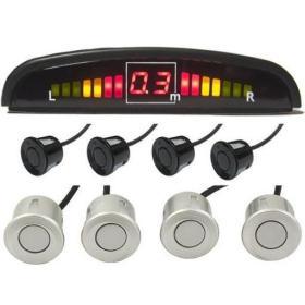 Zestaw Czujników Parkowania: 4-Sensory (czarne i srebrne) + Wyświetlacz LED + Sygnaliz. Dźwiękowa.
