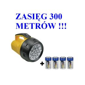 Duża Profesjonalna Wodoodporna Latarka Szperacz 16-LED + 4 Baterie R20 Gratis.