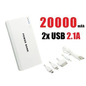 Przenośny MEGA Akumulator/Ładowarka Mobilna Power Bank 20.000mAh!! + Latarka LED + 3 Porty USB...