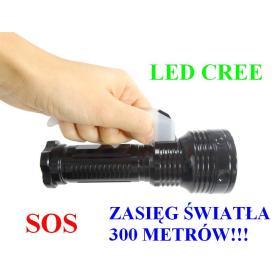 POLICYJNA Latarka Szperacz (zasięg ok 300m!!) LED CREE + Stroboskop/SOS..