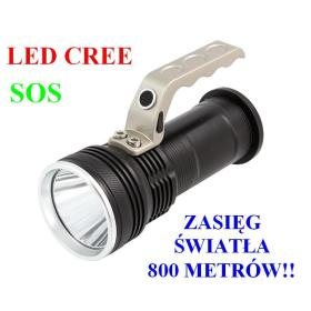Profesjonalna Akumulatorowa POLICYJNA Latarka Szperacz (zasięg do 800m!!) LED CREE + Stroboskop/SOS.