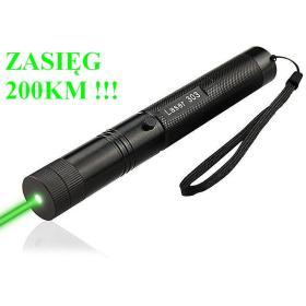 SUPER MOCNY (50 tyś mW) Laser Zielony - Zasięg Wiązki 200km!! + Nakładka Disco + Smycz + 2 Kluczyki.