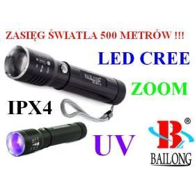 Metalowa Latarka Taktyczna LED CREE + Ultrafiolet + ZOOM + Akcesoria - Zasięg Światła 500 Metrów!!