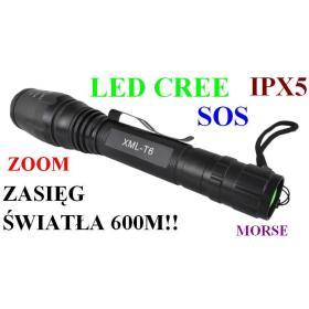Profesjonalna Metalowa Latarka Taktyczna LED CREE + ZOOM + SOS +... - Zasięg Światła 600 Metrów!!