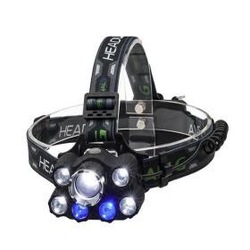 Profesjonalna Latarka Czołowa X-BALOG (9-LED XM-L T6) + Stroboskop + UV + SOS + COB - Zasięg 800m!!
