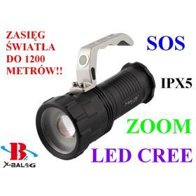 Profesjonalna Akumulatorowa Latarka Szperacz X-BALOG (zasięg do 1200m.!!) LED CREE + ZOOM + SOS...