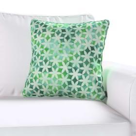Dekoria.pl Poszewka Gabi na poduszkę, kwiatki na cieniowanym zielonym tle, 45 × 45 cm, do -50%