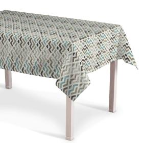 Dekoria.pl Obrus prostokątny, wzór geometryczny w odcieniach pastelowego błękitu i beżu na jasnym tle , 130 × 160 cm, Modern