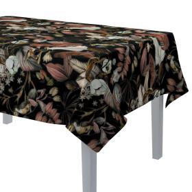 Dekoria.pl Obrus prostokątny, kolorowe kwiaty na czarnym tle, 130 × 210 cm, Abigail