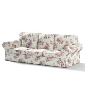 Dekoria.pl Pokrowiec na sofę Ektorp 3-osobową, nierozkładaną, różowo-beżowe róże na kremowym tle, 218 x 88 x 73 cm, Londres