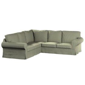 Dekoria.pl Pokrowiec na sofę narożną Ektorp, pasy w odcieniach zieleni i czerwieni, 240/136 x 82 x 73 cm, Londres