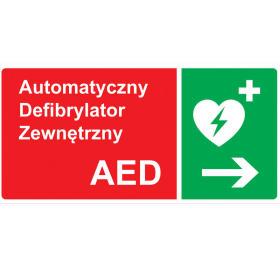 Tablica kierunkowa do oznaczania defibrylatora AED w Prawo