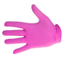 Rękawiczki nitrylowe różowe rozmiar M - 100 sztuk