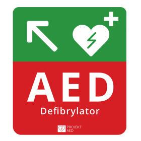 Tablica kierunkowa do oznaczania defibrylatora AED w Lewo w Górę