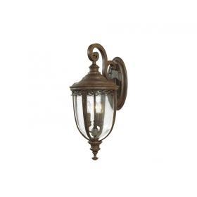 Lampa zewnętrzna latarnia naścienna ogrodowa 3 źródła światła kolor brąz duża