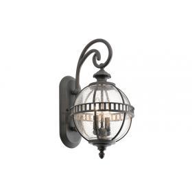 Lampa zewnętrzna latarnia naścienna ogrodowa kolor szaro-brązowy 2 źródła światła