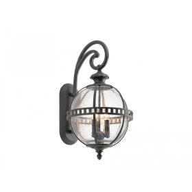 Lampa zewnętrzna latarnia naścienna ogrodowa kolor szaro-brązowy 3 źródła światła duża