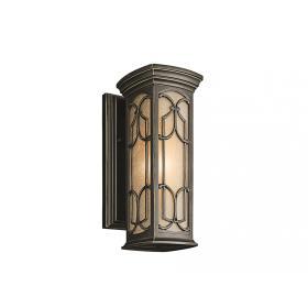 Lampa zewnętrzna ogrodowa naścienna kinkiet ciemny brąz mała