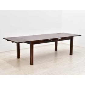 Stół kolonialny lite drewno palisander indyjski rozkładany z dostawkami masywny ciemny brąz
