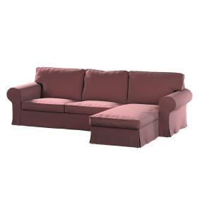 Dekoria.pl Pokrowiec na sofę Ektorp 2-osobową i leżankę, jasna śliwka - welwet, 252 x 163 x 88 cm, Ingrid