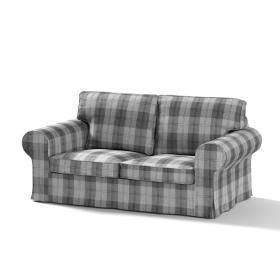 Dekoria.pl Pokrowiec na sofę Ektorp 2-osobową, nierozkładaną, krata szaro-grafitowa, 173 x 83 x 73 cm, Edinburgh