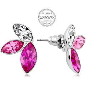 Levien Kolczyki z trzema kryształkami w kolorze różowym odcień ech Navette, BEZPŁATNY ODBIÓR: WROCŁAW!