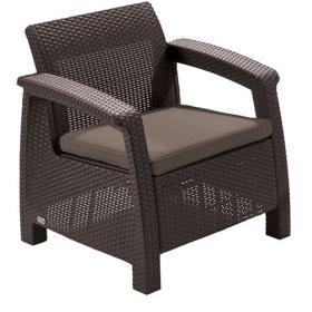 Allibert krzesło z poduszką CORFU - brązowe + szaro-brązowa poduszka, BEZPŁATNY ODBIÓR: WROCŁAW!