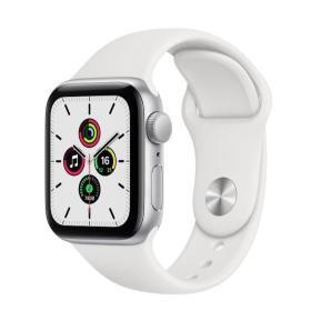 Apple Zegarek SE GPS + Cellular, 44mm koperta z aluminium w kolorze srebrnym z białym paskiem sportowym- Regular