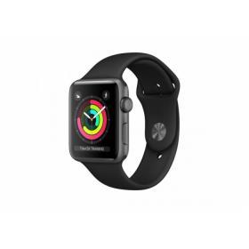Apple Zegarek Series 3 GPS, 42mm koperta z aluminium w kolorze gwiezdnej szarości z paskiem sportowym w kolorze czarnym