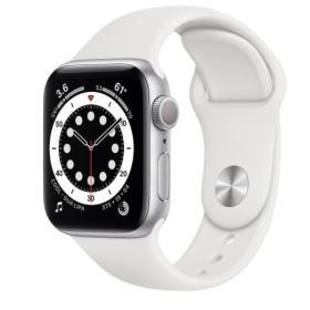 Apple Zegarek Series 6 GPS, 44mm koperta z aluminium w kolorze srebrnym z paskiem sportowym w kolorze białym- Regular