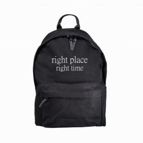 Plecak z napisem Right place right time